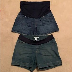 Denim shorts-great length- top pair L, bottom M